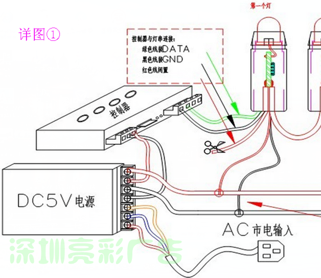 led发光字如何接线 电源如何接线