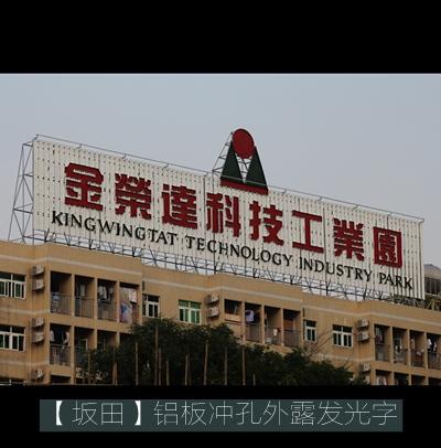 金荣达科技产业园楼体冲孔铝字设计制作